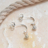 Sterling Silver Knot Hoop Stud Earrings