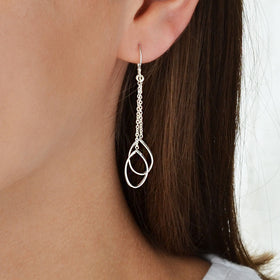Sterling Silver Elegant Cascade Earrings