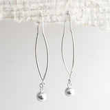 Sterling Silver Bow And Ball Pull Through Chain Earrings