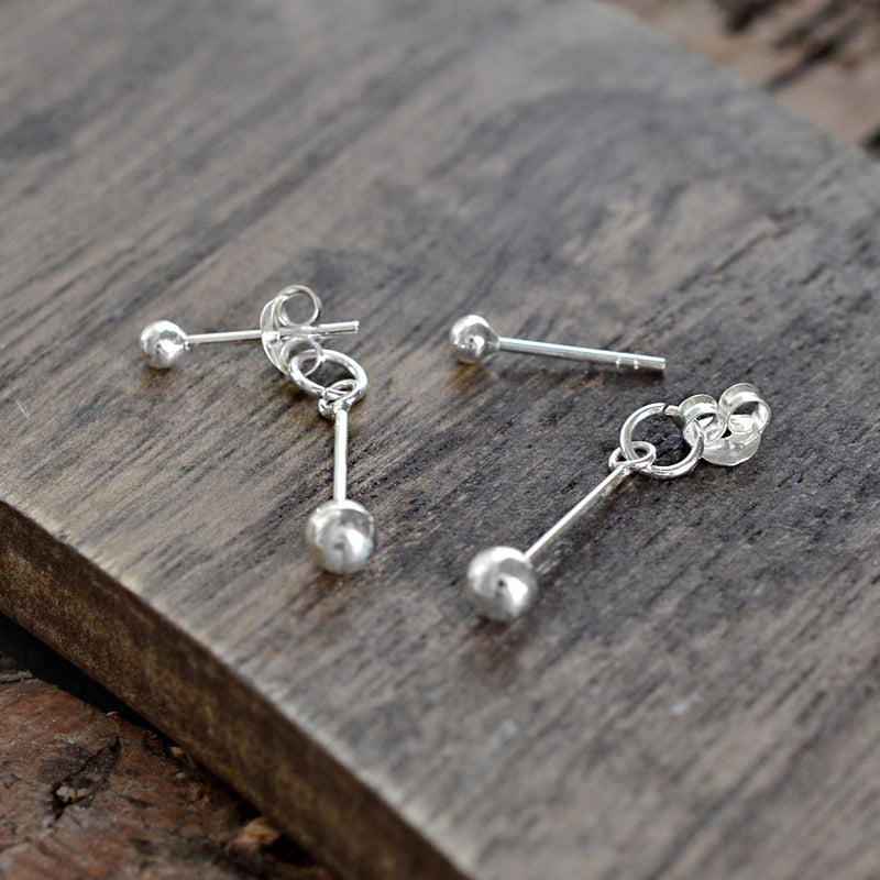Sterling Silver Bar And Ball Two Way Stud Earrings