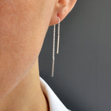 Silver Trace Pull Through Chain Earrings