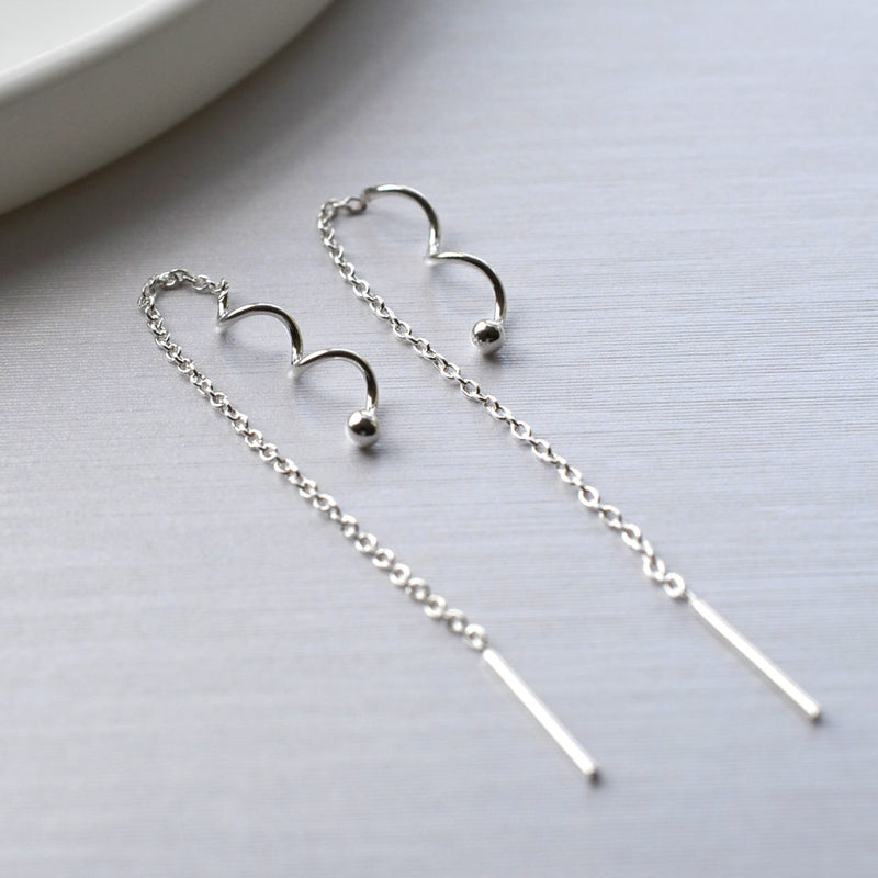 Silver Twist Pull Through Chain Earrings