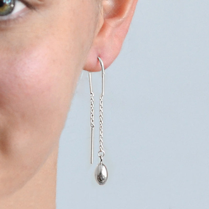 Sterling Silver Bead Pull Through Chain Earrings