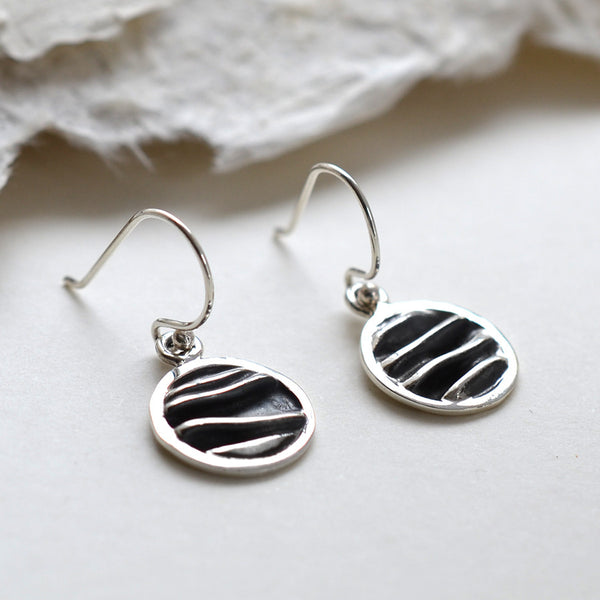 Sterling Silver Crumpled Silk Round Earrings