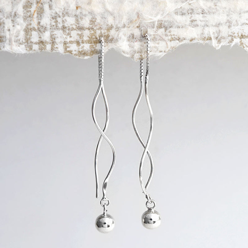 Sterling Silver Wave And Ball Pull Through Chain Earrings