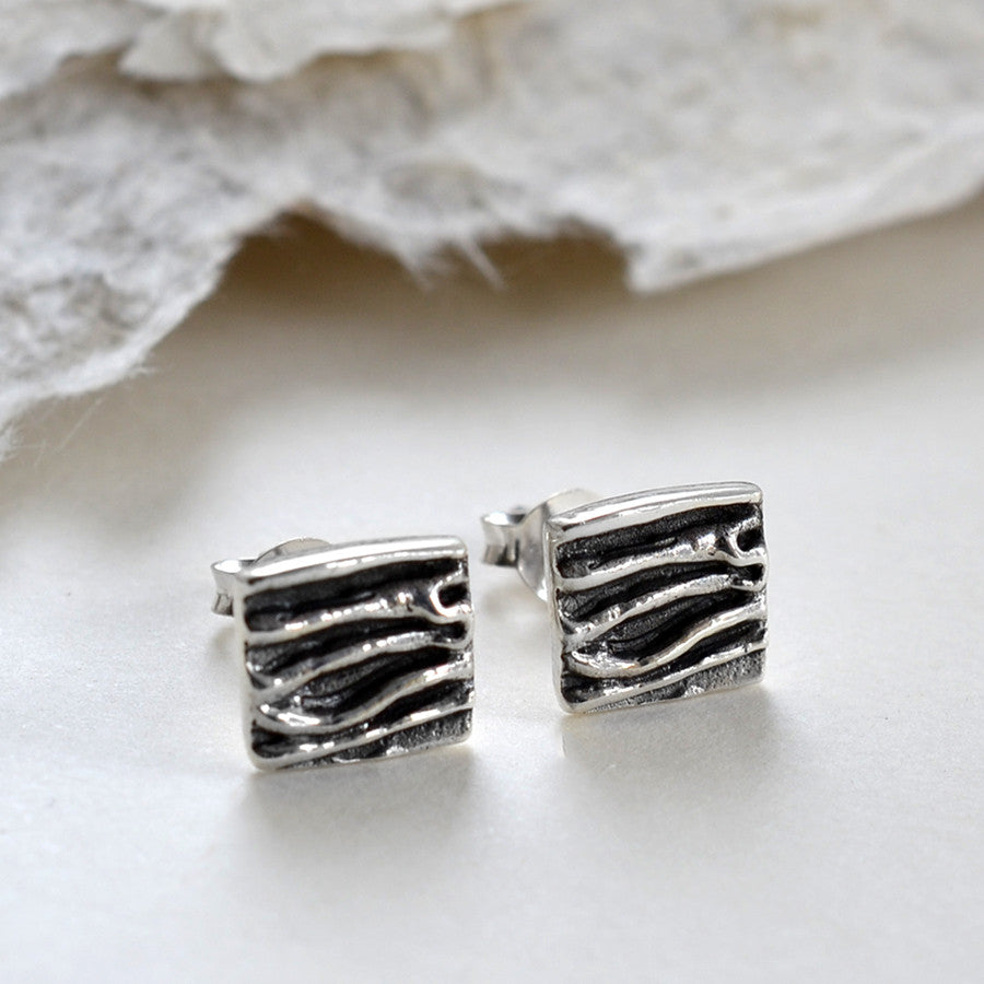 Sterling Silver Crumpled Silk Earrings
