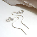Sterling Silver Pull Through Chain Rings Earrings