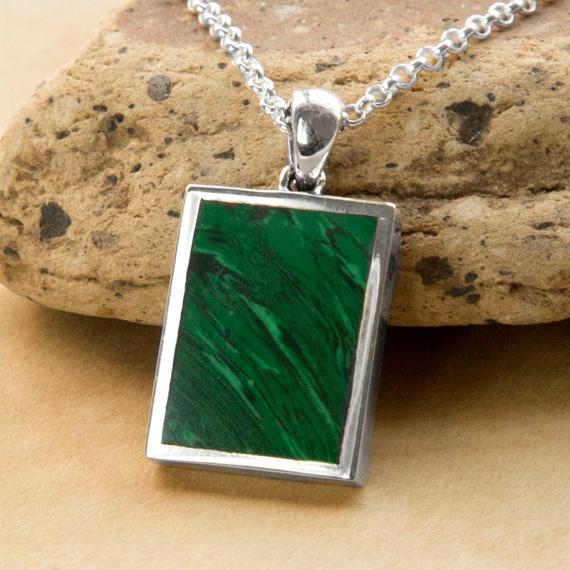 Engravable Sterling Silver and Malachite Necklace