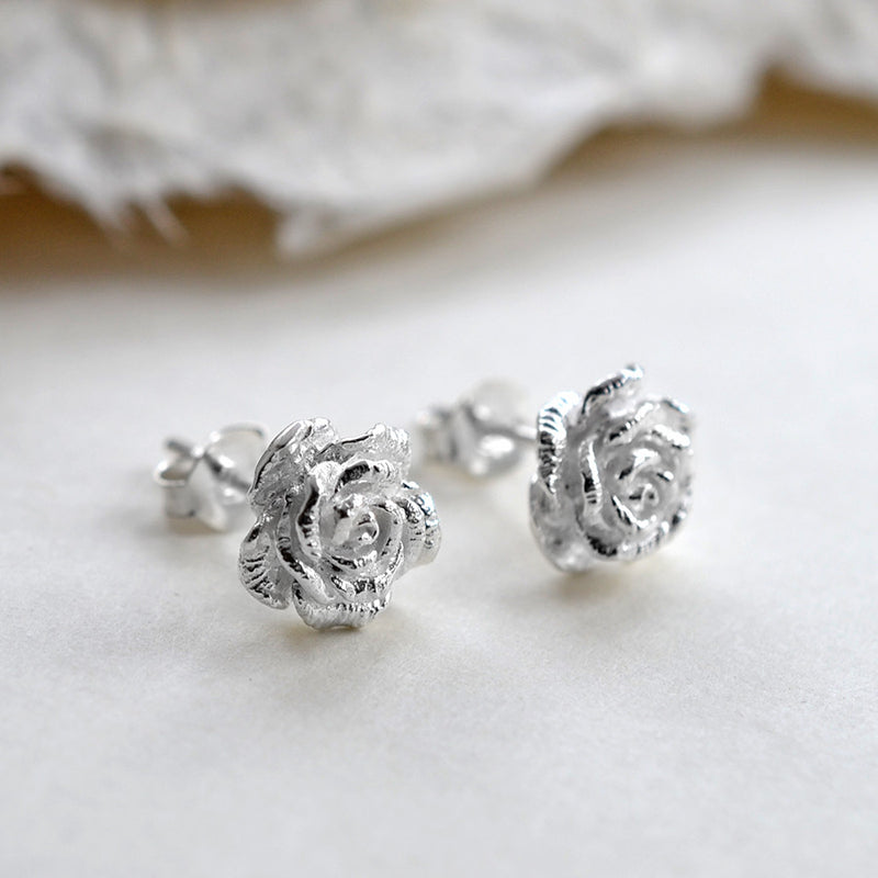 Sterling Silver Classic Rose Earrings