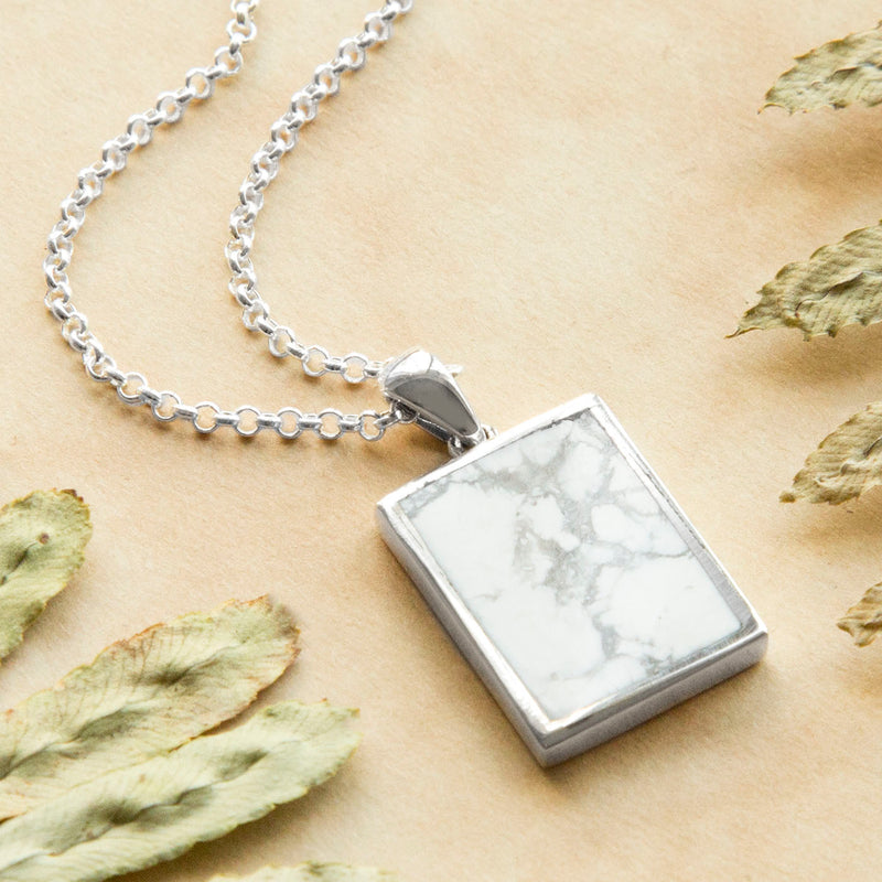 Engravable Sterling Silver and Howlite Necklace
