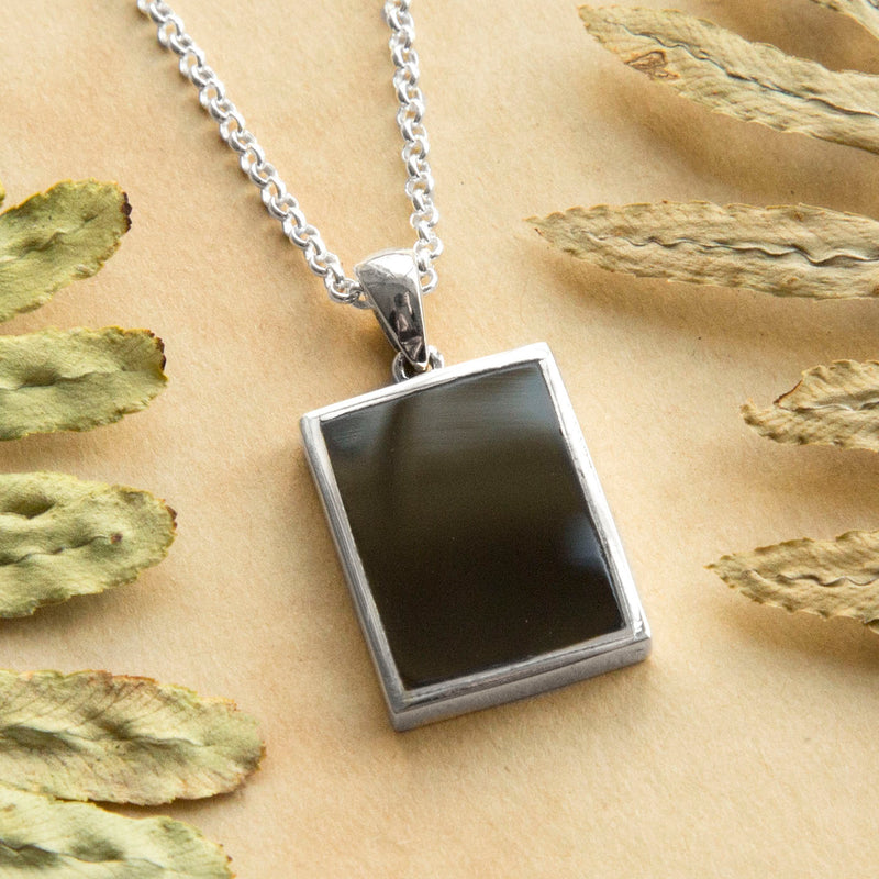 Engravable Sterling Silver and Black Onyx Necklace