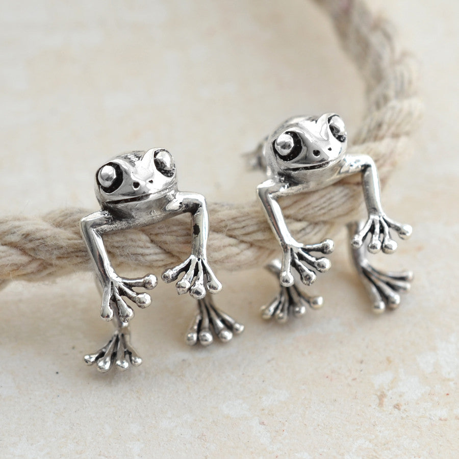 Sterling Silver Two Way Frog Earrings