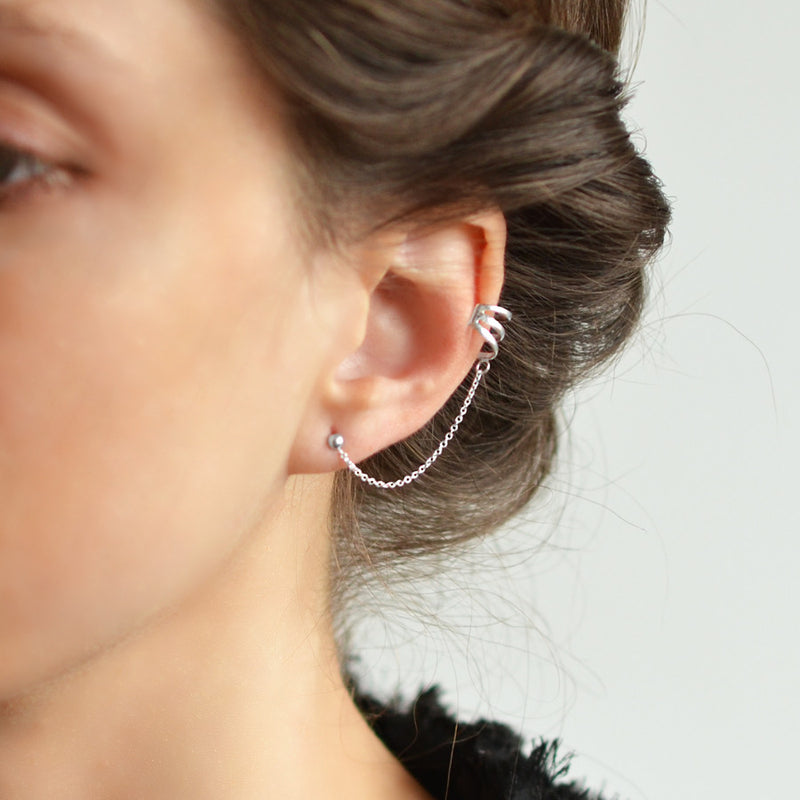 Sterling Silver Ear Cuff And Stud Earrings