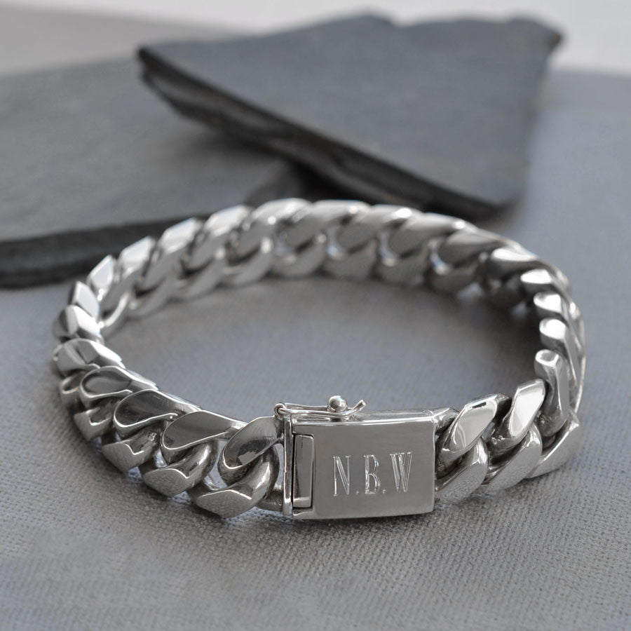 Sterling Silver Heavy Curb Bracelet