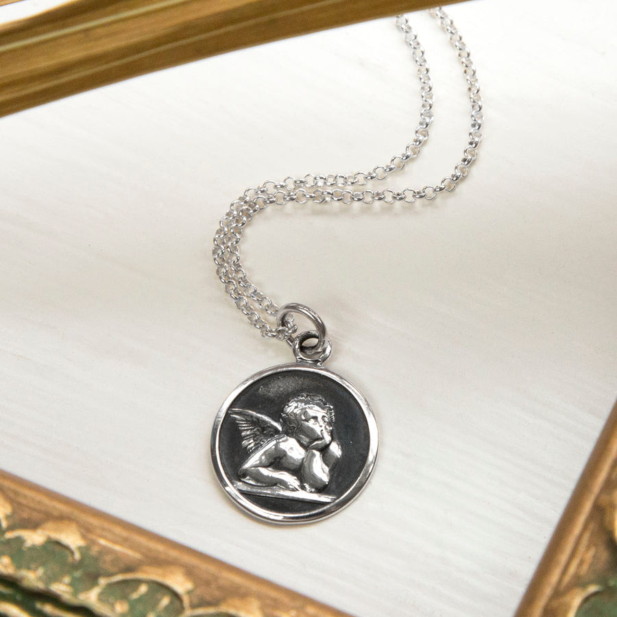 Personalized Sterling Silver Cherub Necklace