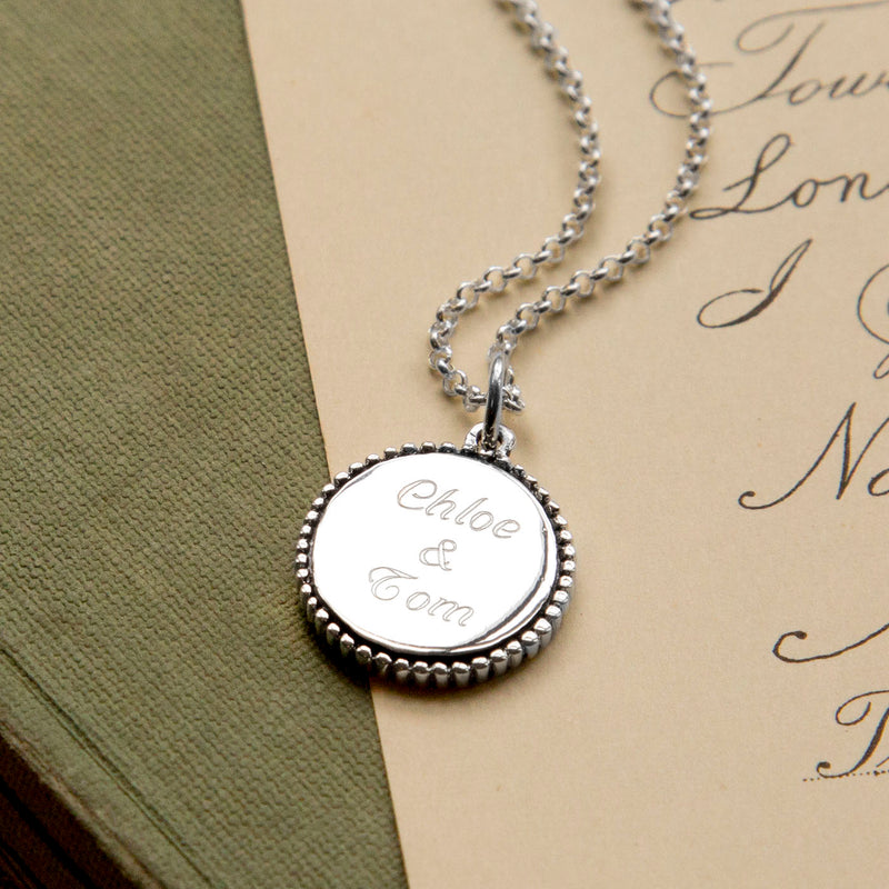 Personalized Sterling Silver Round Pendant