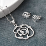 Contemporary Silver Rose Jewellery Set