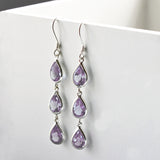 Silver Or Gold Triple Amethyst Teardrop Earrings