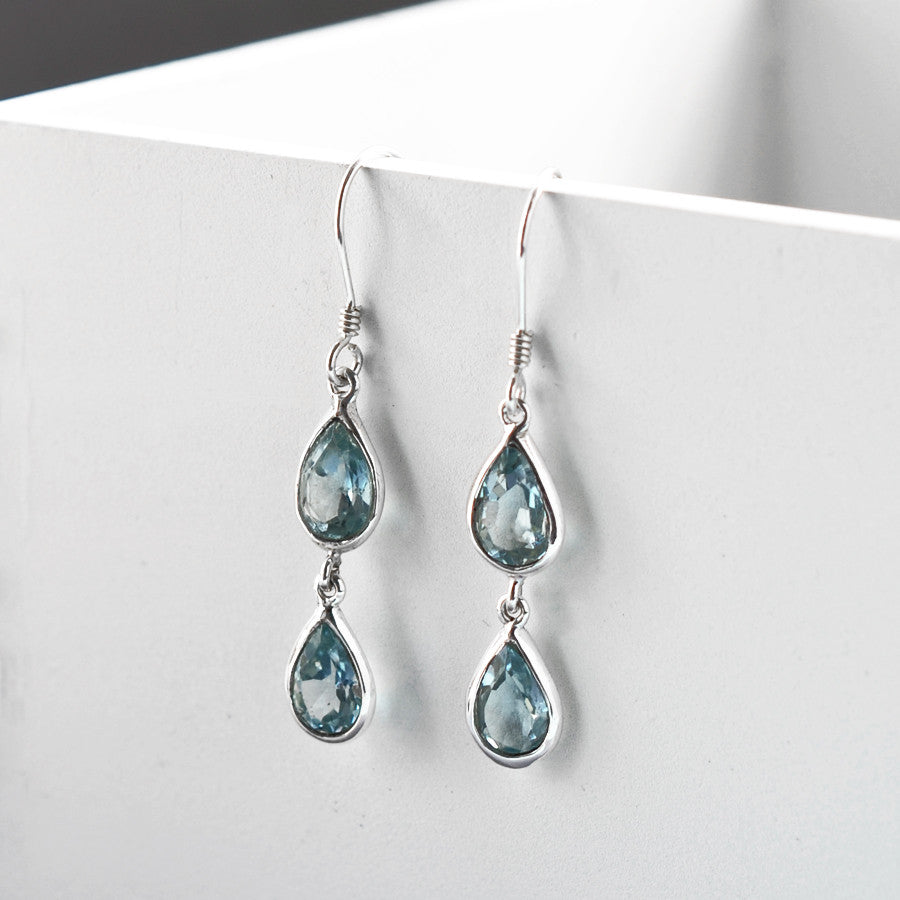 Sterling Silver Double Blue Topaz Teardrop Earrings