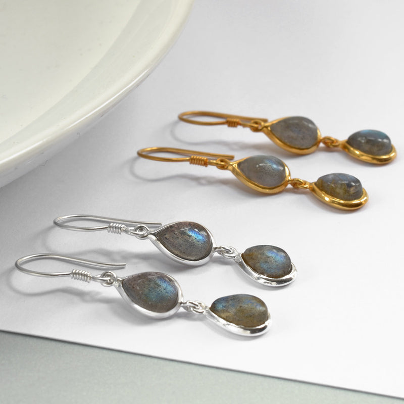Silver Or Gold Double Labradorite Teardrop Earrings