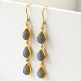Silver Or Gold Triple Labradorite Teardrop Earrings