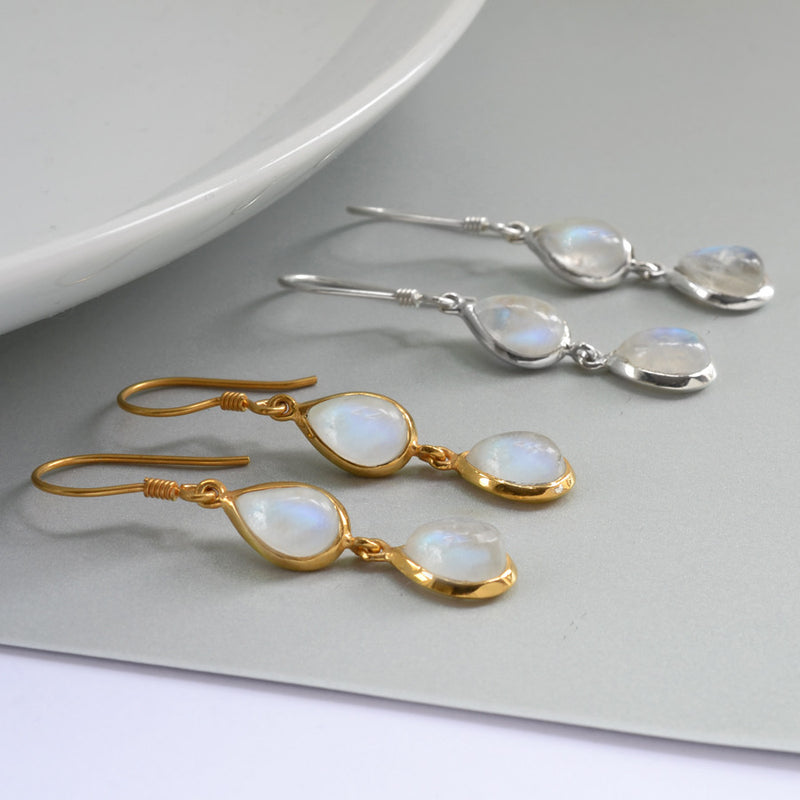 Silver Or Gold Double Moonstone Teardrop Earrings