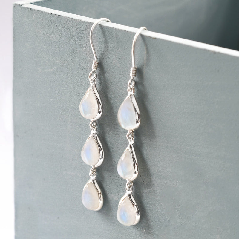 Silver Or Gold Triple Moonstone Teardrop Earrings
