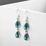 Sterling Silver Double Turquoise Teardrop Earrings