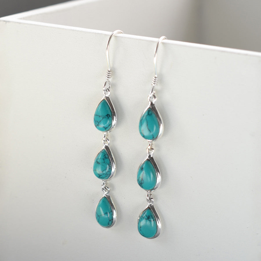 Sterling Silver Triple Turquoise Teardrop Earrings
