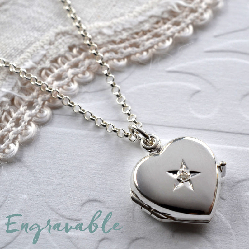 Diamond Kissed Silver Locket