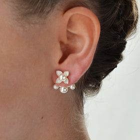Sterling Silver and Pearl Set Flower 3 Pearl Two Way Stud Earrings