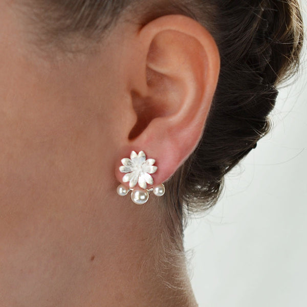 Sterling Silver and Pearl Jasmine 3 Pearl Two Way Stud Earrings