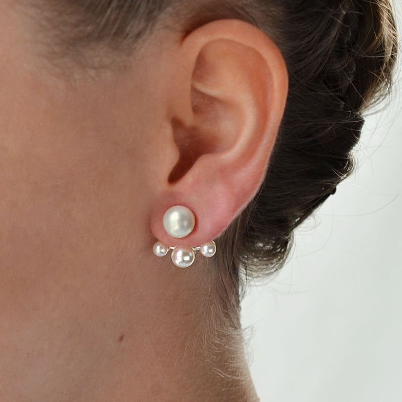 Sterling Silver and Pearl Set 3 Pearl Two Way Stud Earrings