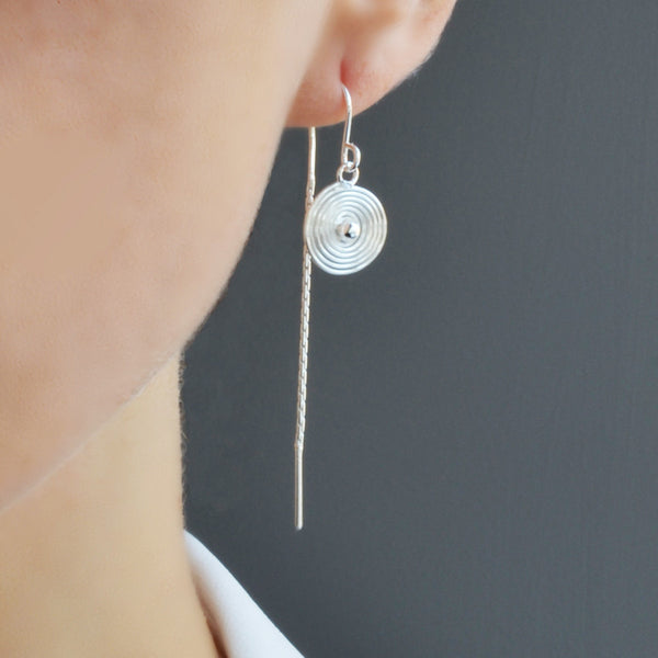 Silver Spiral Pull Through Chain Earrings