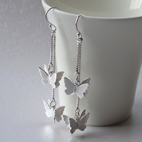 Sterling Silver Cascading Butterfly Earrings