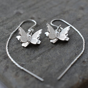 Sterling Silver Butterfly on Through Chain Earrings by Martha Jackson