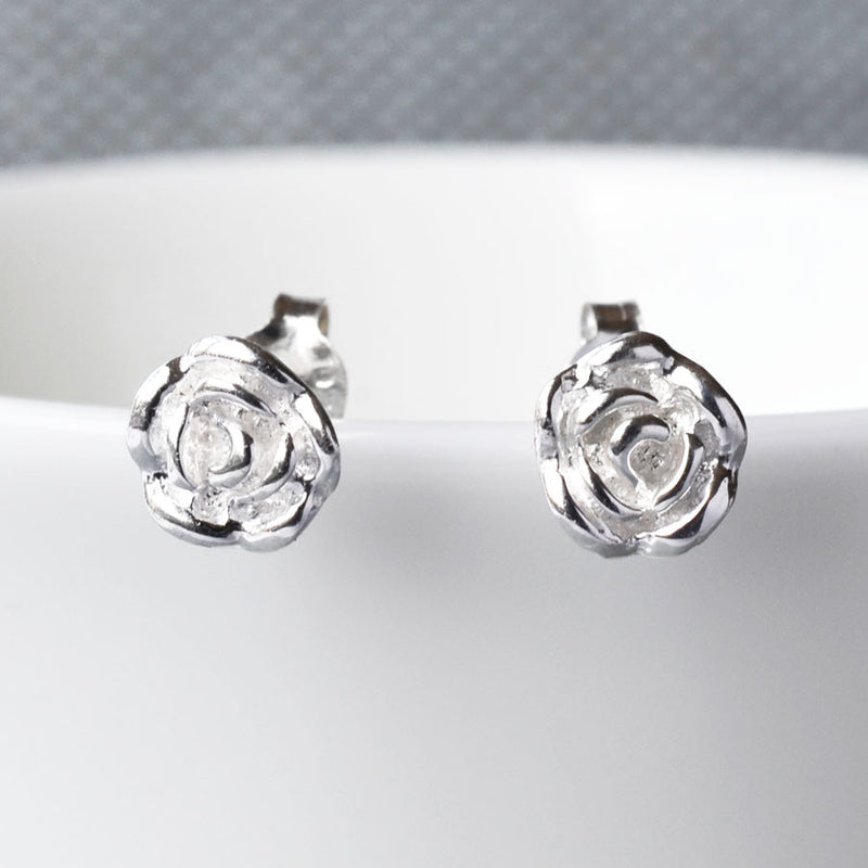 Sterling Silver English Rose Earrings by Martha Jackson