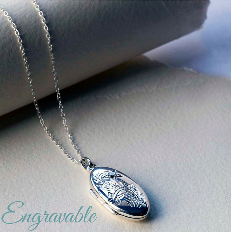 sterling products personalised hand flower ladies locket engraved oval eng silver large design lockets
