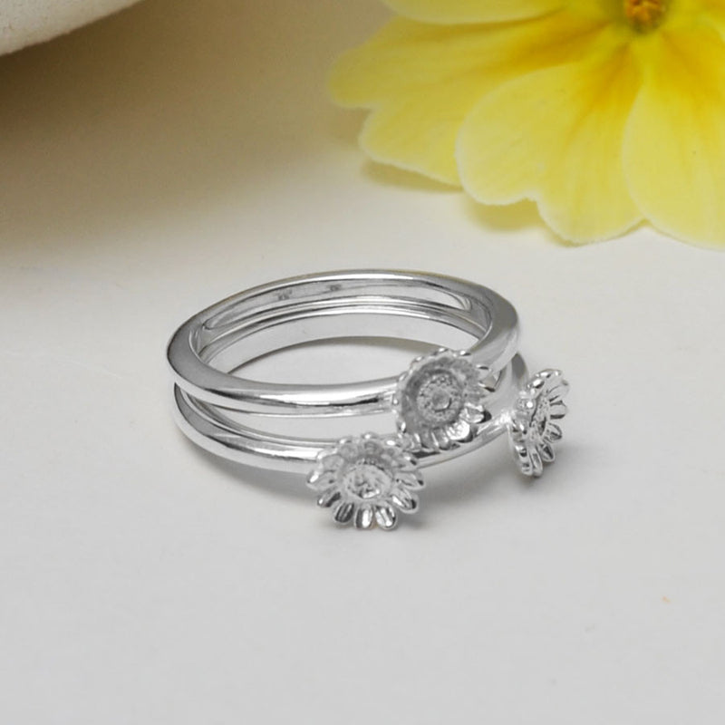 Sterling Silver Flower Stacking Ring