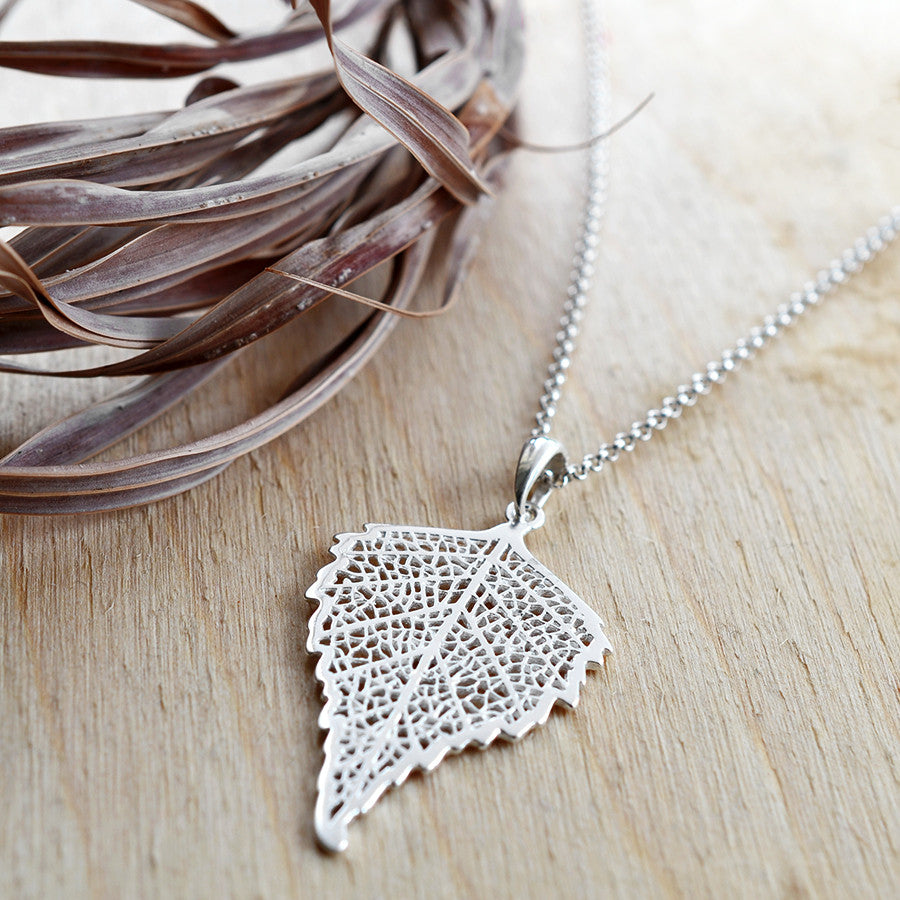 Sterling Silver Birch Leaf Necklace