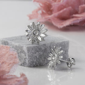 Sterling Silver Daisy Stud Earrings