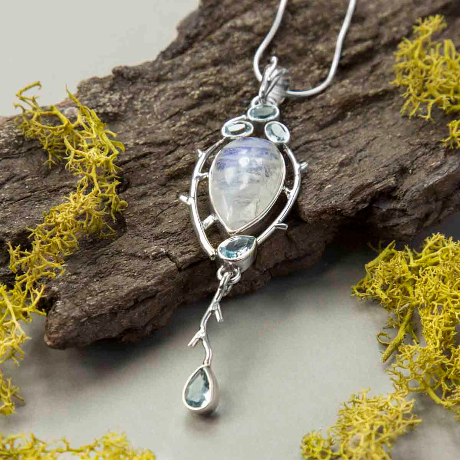 Sterling Silver Moonstone and Blue Topaz Pendant