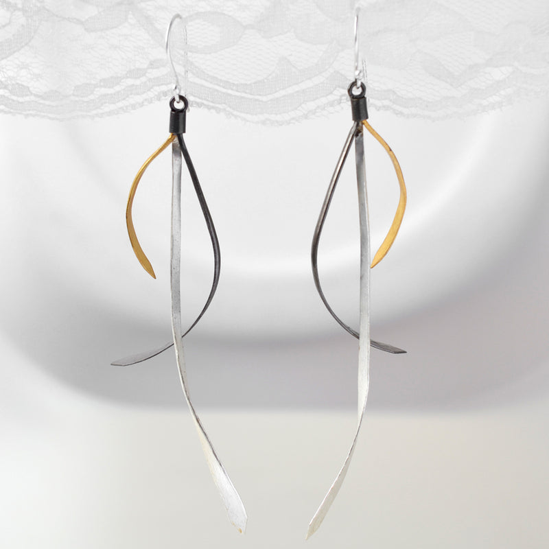 Gold, Black Rhodium and Silver hanging ribbon earrings