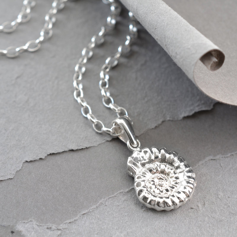 Silver Ammonite fossil pendant necklace