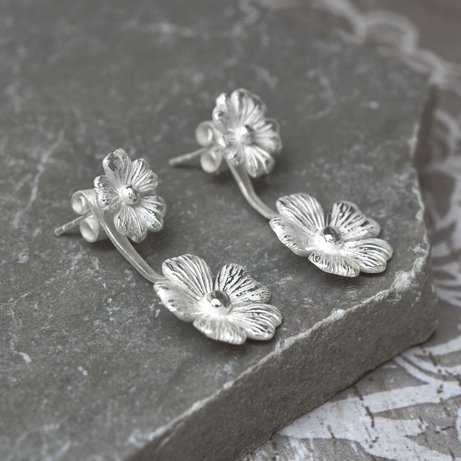 Silver double blossoming cosmos earrings