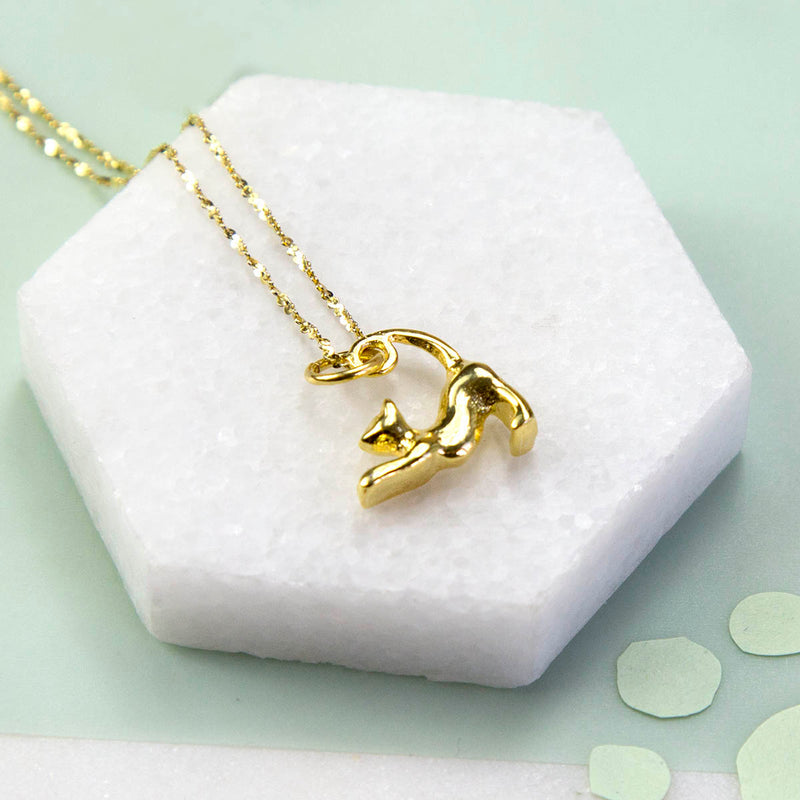Gold Plated Sterling Silver Pussycat Necklace