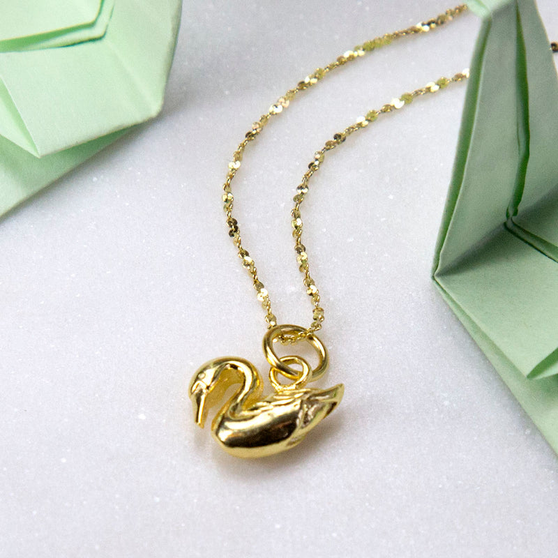 Gold Plated Sterling Silver Swan Necklace