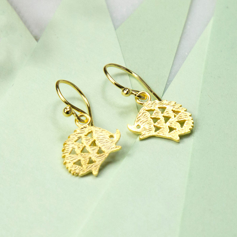 Gold Plated Sterling Silver Hedgehog Earrings