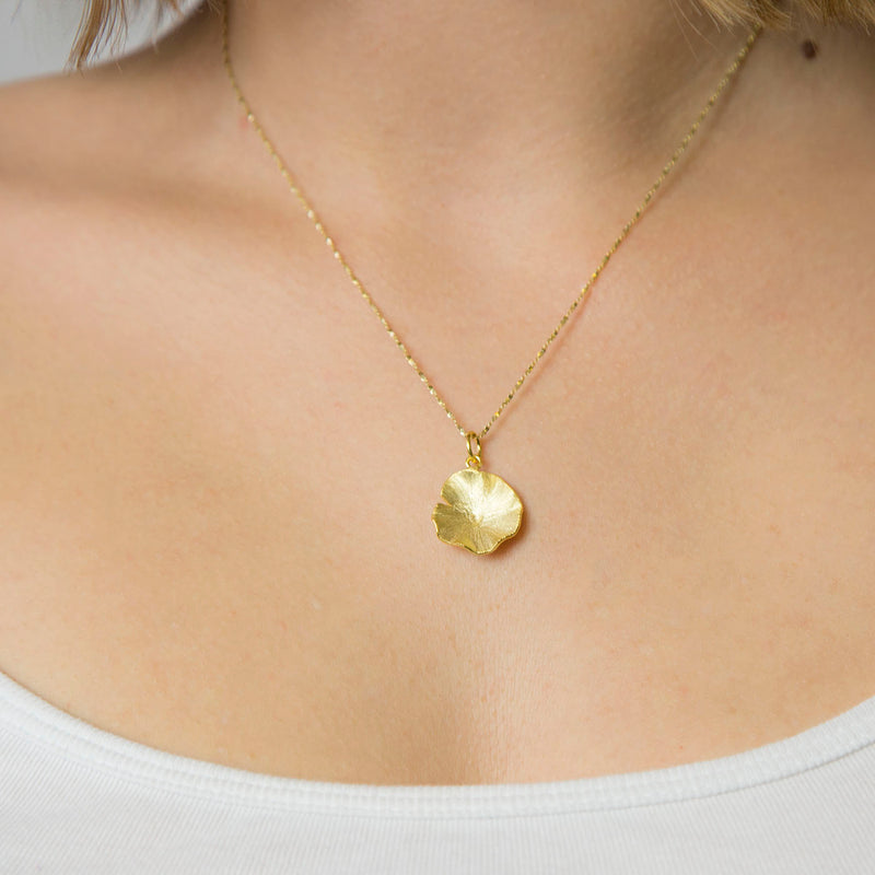 Gold Plated Large Lily Pad Necklace