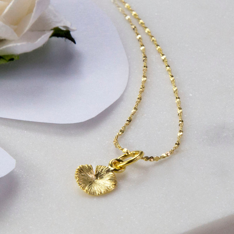 Gold Plated Sterling Silver Lily Pad Necklace